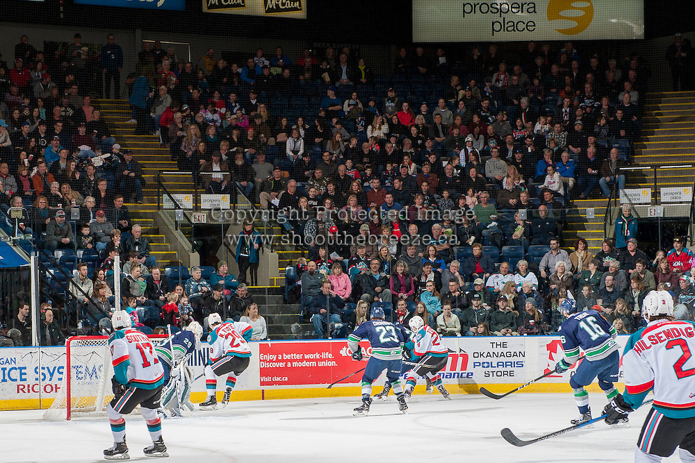 KELOWNA, CANADA - FEBRUARY 13: The Kelowna Rockets take on the Seattle Thunderbirds BC Family day on February 13, 2017 at Prospera Place in Kelowna, British Columbia, Canada.  (Photo by Marissa Baecker/Shoot the Breeze)  *** Local Caption ***