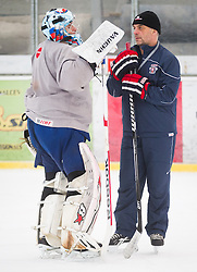 Andrej Hocevar and Matjaz Kopitar, head coach during practice session of Slovenian Ice Hockey National Team for IIHF World Championship in Sweden and Finland, on March 28, 2013, in Arena Zlato Polje, Kranj, Slovenia. (Photo by Vid Ponikvar / Sportida.com)