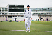 James Vince of Hampshire walks off after loosinga the toss during the Specsavers County Champ Div 1 match between Hampshire County Cricket Club and Middlesex County Cricket Club at the Ageas Bowl, Southampton, United Kingdom on 14 April 2017. Photo by David Vokes.