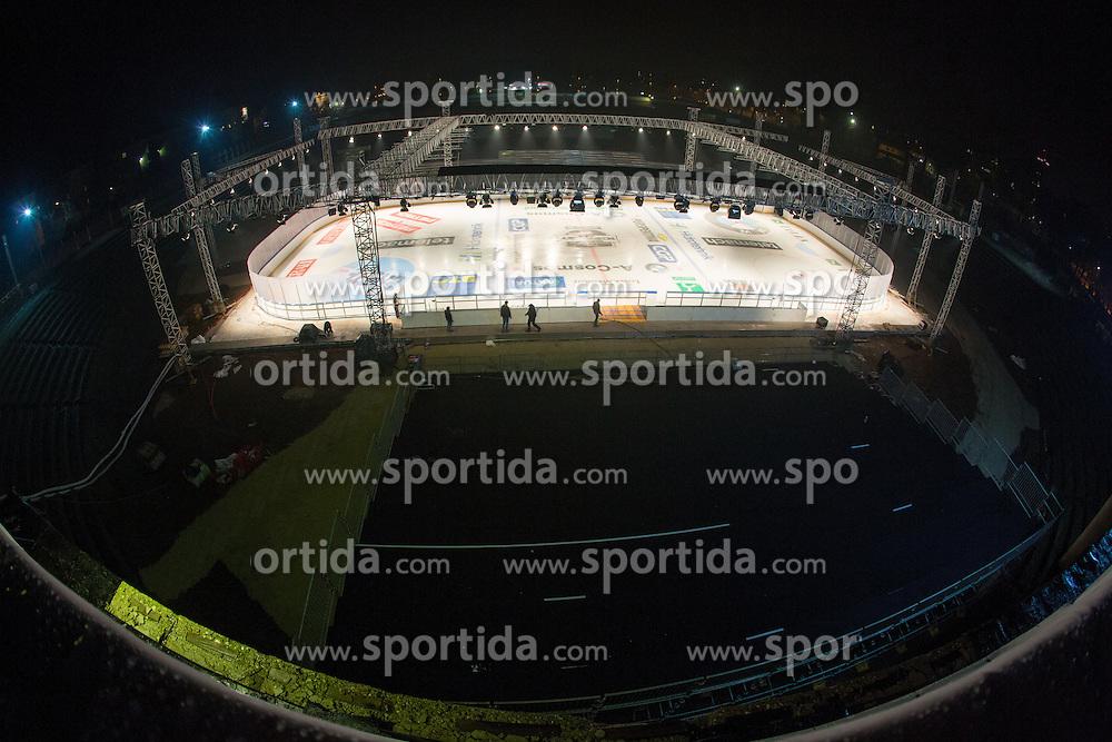 Preparing stadium Bezigrad for Winter Classic of HDD Olimpija Ice Fest 2013, on January 2, 2013 in Stadium Bezigrad, Ljubljana, Slovenia. (Photo By Matic Klansek Velej / Sportida.com)