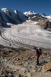 Switzlerland: Hiking the Swiss Glaciers near St. Moritz, taking the Diavolezza Morteratsch hike..Guide Paul Nigg at start of hike. Model Released..Photo copyright Lee Foster, 510/549-2202, lee@fostertravel.com, www.fostertravel.com..Photo #: swisse11427