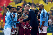 FA President The Duke of Cambridge meets the player before kick off  during the The FA Cup Final match between Manchester City and Watford at Wembley Stadium, London, England on 18 May 2019.