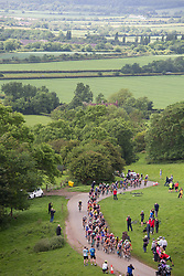 © Licensed to London News Pictures. 09/06/2017. Burton Dassett, Warwickshire, UK. The third stage of the Women's Cycle Tour, Atherstone to Leamington Spa. Pictured, the riders make their way up Burton Dassett hill, one of the Queen of the Mountain stages. Photo credit: Dave Warren/LNP