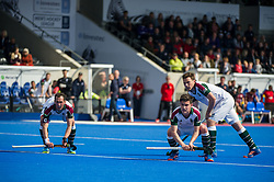 Surbiton line up for a penalty corner. Wimbledon v Surbiton - Men's Hockey League Final, Lee Valley Hockey & Tennis Centre, London, UK on 23 April 2017. Photo: Simon Parker