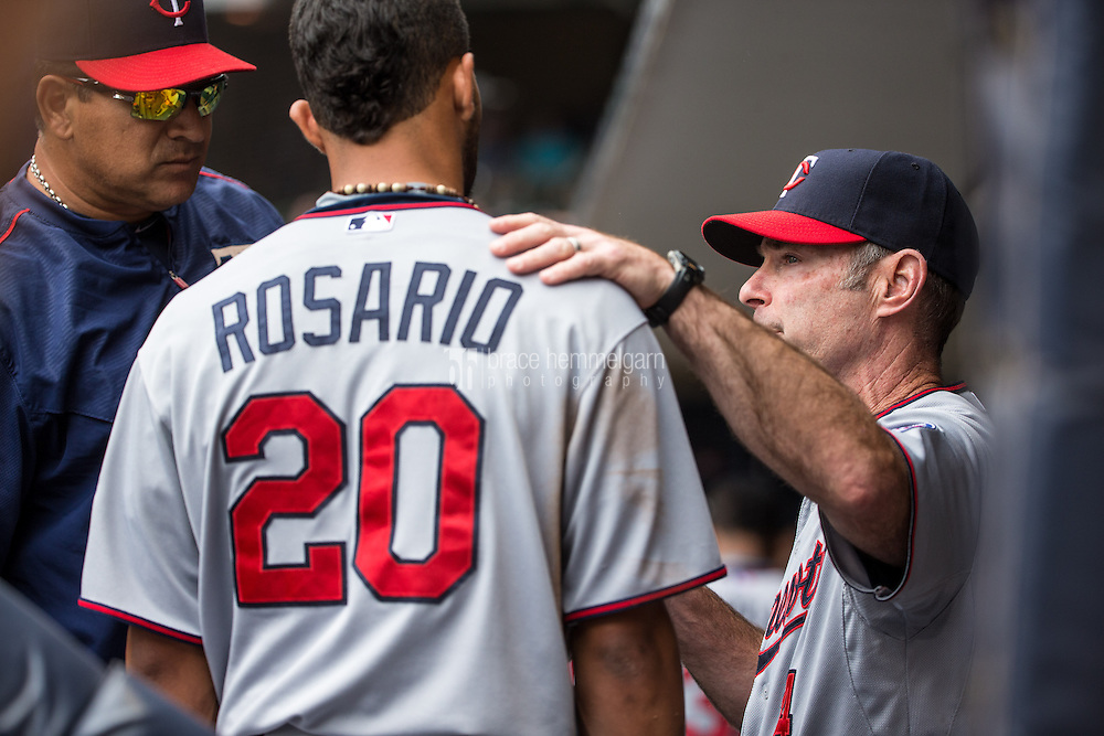 MILWAUKEE, WI- JUNE 28: Paul Molitor #4 of the Minnesota Twins talks with Eddie Rosario #20 against the Milwaukee Brewers on June 28, 2015 at Miller Park in Milwaukee, Wisconsin. The Brewers defeated the Twins 5-3. (Photo by Brace Hemmelgarn) *** Local Caption *** Paul Molitor