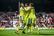 Derby County (36) Joe Ledley, celebrate goal  during the EFL Sky Bet Championship match between Brentford and Derby County at Griffin Park, London, England on 26 September 2017. Photo by Sebastian Frej.
