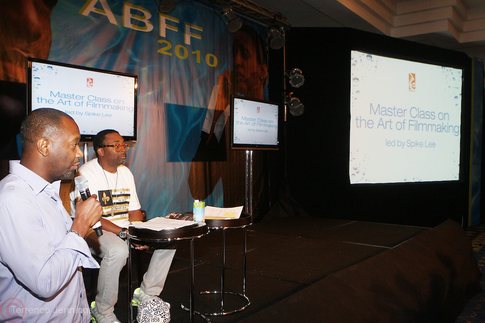 26 June 2010-Miami Beach, Fla- Jeff Friday and Spike Lee at the Spike Lee Master Class on the Art of Filmmaking at the 2010 American Black Film Festival held at The Ritz Carlton on June 26, 2010 in South Beach, Miami Beach, Florida. Photo Credit: Terrence Jennings/Sipa