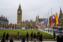 © Licensed to London News Pictures. 08/05/2017. London, UK. The flags of all 27 EU members states fly around parliament Square, opposite the houses of Parliament in Westminster, London, ahead of Europe Day tomorrow (Tues). Europe Day marks the anniversary of Schuman declaration, which was the basis for the formation of the European Union. Photo credit: Ben Cawthra/LNP