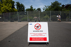 London, UK. 1 June, 2019. A sign warning of a 'no drone zone' outside Winfield House, residence of the US ambassador to the UK, as part of Metropolitan Police security arrangements in advance of the state visit to the UK of US President Trump.