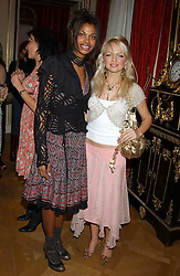 Left to right, SIM SCAVAZZA and HANNAH SANDLING at a fashion show featuring the Miss Selfridge Autumn/Winter '05 collections held at The Wallace Collection, Manchester Square, London W1 on 6th April 2005.<br />