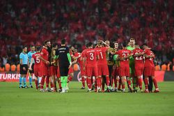 Turkey players celebrate victory after Euro 2020 group H qualifying soccer match between Turkey and France at the Konya City Stadium in Konya, Turkey, June 8, 2019. Photo by Abdurrahman Antakyali/Depo Photos/ABACAPRESS.COM