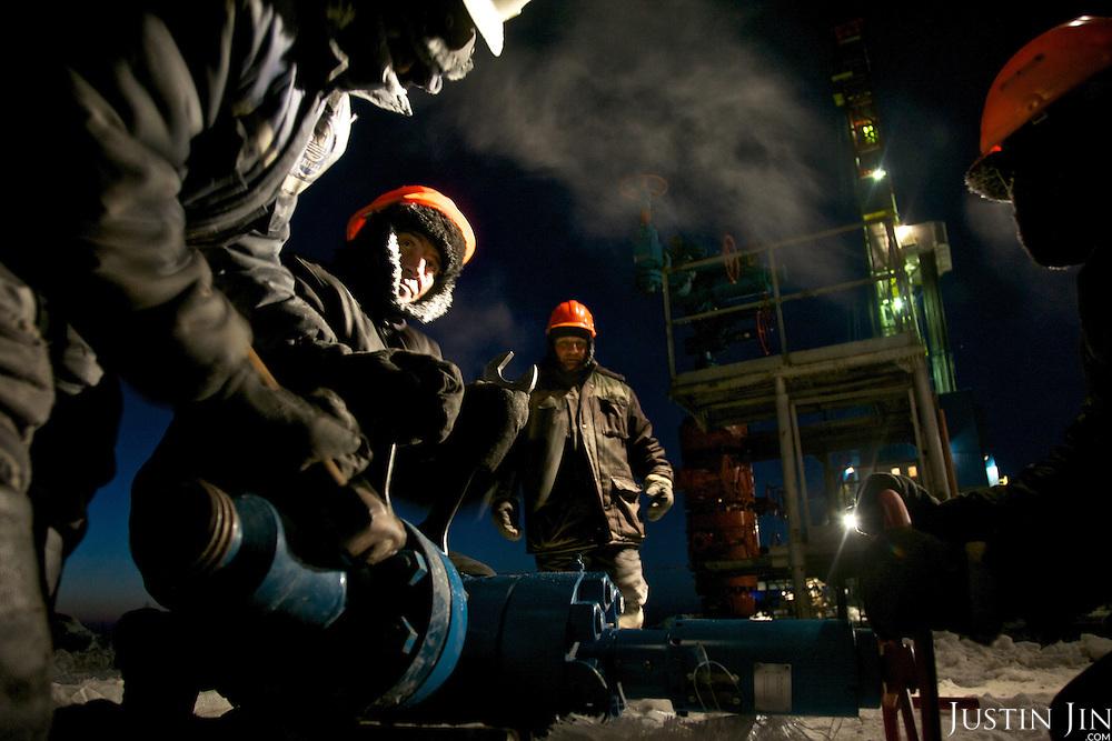 Achimgaz gas drilling well in Novy Urengoi, Siberia, Russia.