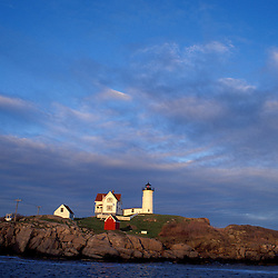 Lighthouses. The Nubble Point Light at Cape Neddick  ME.  Cape Neddick, York, ME