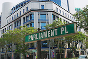 SINGAPORE, SINGAPORE - AUGUST 05, 2008: Exterior of the green road sign for Parliament square in Singapore, Singapore.