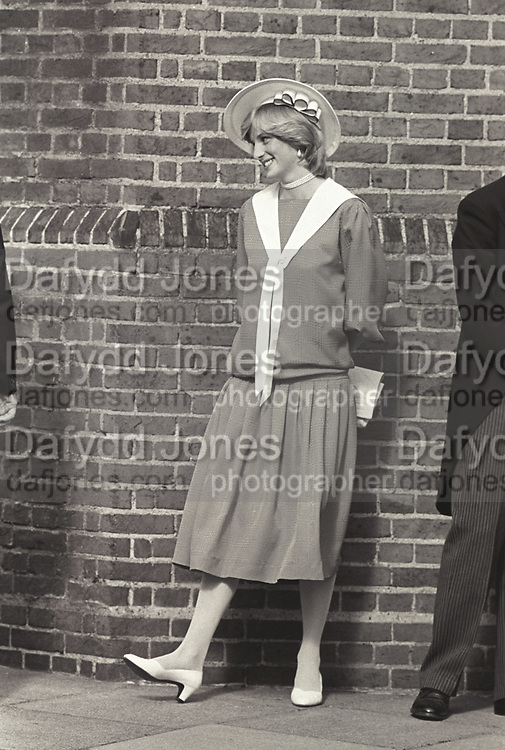 THE PRINCESS OF WALES, , Princess of Wales at the marriage of Carolyn Pride to William Bartholomew. Chelsea Old Church. London. 3 September 1982,