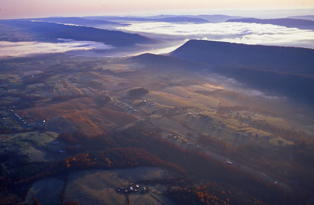 PA landscapes, Perry Co., PA, Valley Farms and Susquehanna River Fog