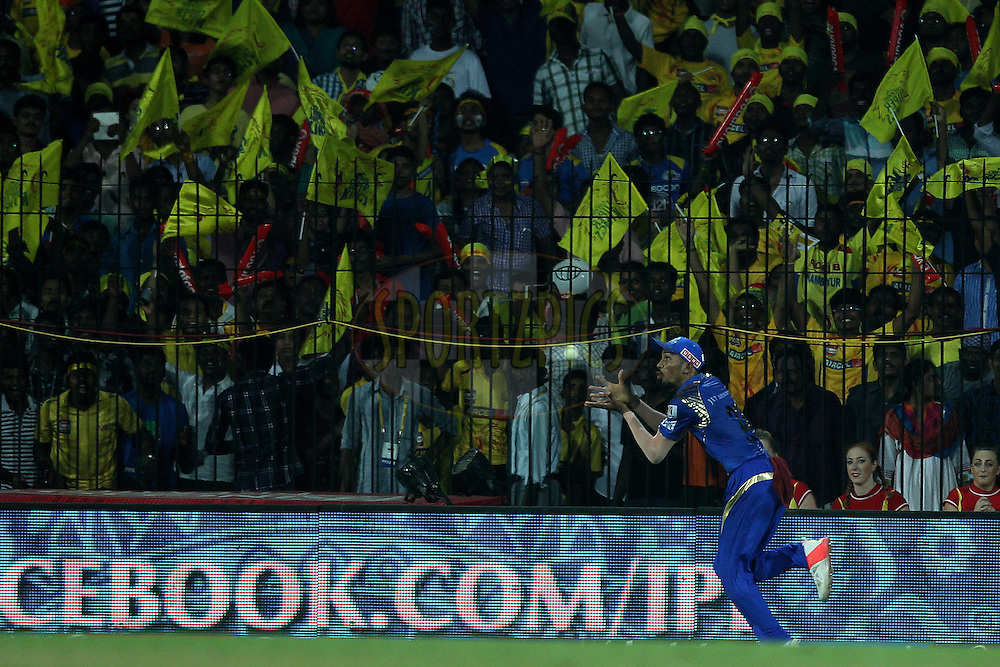 Hardik Pandya takes the catch to dismiss Suresh Raina of the Chennai Superkings  during match 43 of the Pepsi IPL 2015 (Indian Premier League) between The Chennai Superkings and The Mumbai Indians held at the M. A. Chidambaram Stadium, Chennai Stadium in Chennai, India on the 8th May April 2015.<br /> <br /> Photo by:  Ron Gaunt / SPORTZPICS / IPL