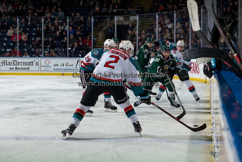 KELOWNA, CANADA - JANUARY 9:  Connor Dewar #43 of the Everett Silvertips stick checks Lassi Thomson #2 of the Kelowna Rockets during second period on January 9, 2019 at Prospera Place in Kelowna, British Columbia, Canada.  (Photo by Marissa Baecker/Shoot the Breeze)