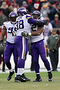 Minnesota Vikings defensive tackle Linval Joseph (98) hugs Vikings defensive tackle Tom Johnson (92) after Johnson makes a tackle on a fourth down run by the Washington Redskins that ends a potential scoring drive late in the fourth quarter during the 2017 NFL week 10 regular season football game against the Washington Redskins, Sunday, Nov. 12, 2017 in Landover, Md. The Vikings won the game 38-30. (©Paul Anthony Spinelli)