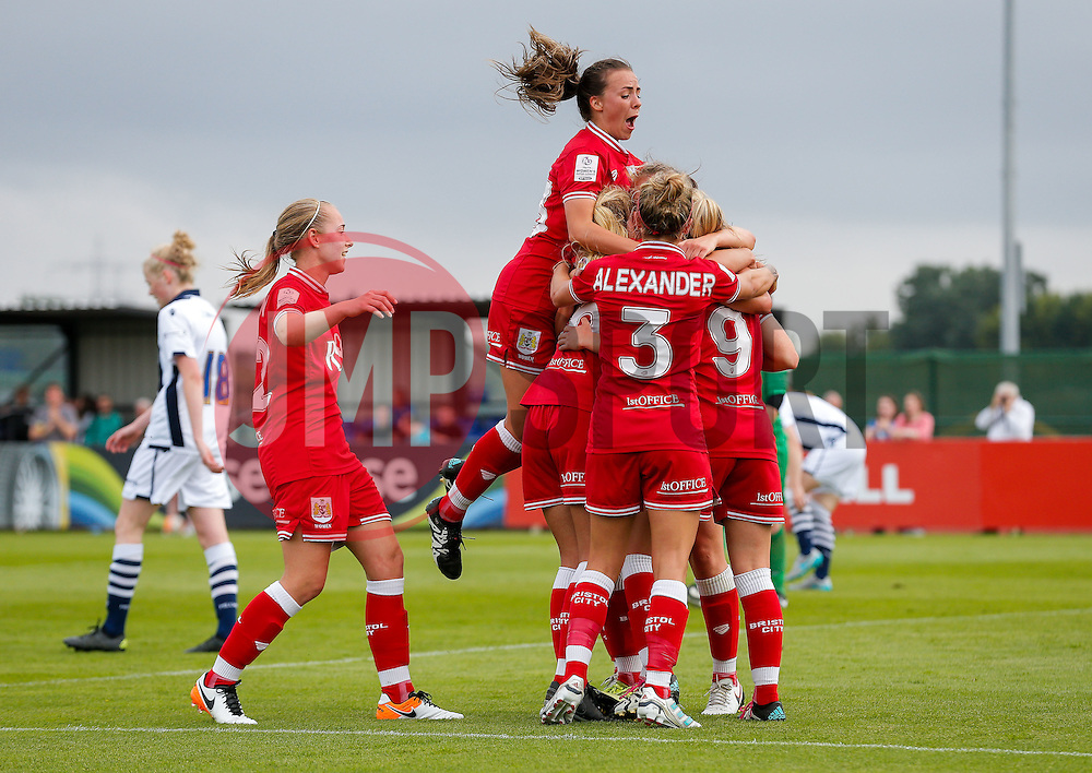 Claire Emslie of Bristol City Women celebrates with her teammates after scoring a goal to make it 2-1 - Mandatory byline: Rogan Thomson/JMP - 09/07/2016 - FOOTBALL - Stoke Gifford Stadium - Bristol, England - Bristol City Women v Milwall Lionesses - FA Women's Super League 2.