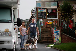 UK ENGLAND DEVON TEIGNMOUTH 10SEP16 - Retiree Ray Jones (67) and his wife Sue Jones (56), a social worker, of Bridgewater walk their dogs Millie (8) and Bella (3) at Teignmouth beach, Devon, England.<br /> <br /> jre/Photo by Jiri Rezac<br /> <br /> &copy; Jiri Rezac 2016