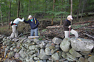 Salisbury Mills, New York - A man helps a woman climb over a rock wall during a hike through Clove Brook Farm at the base of Schunnemunk Mountain on Oct. 2, 2010. The outing was organized by the Hudson Highlands Nature Museum.