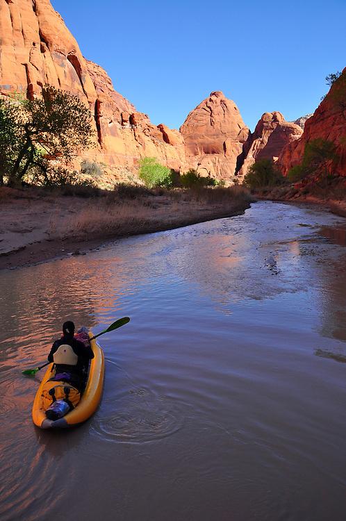 Inflatable kayaker on Arizona's Paria River.
