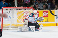 KELOWNA, CANADA - JANUARY 7: Jackson Whistle #1 of Kelowna Rockets makes a save against the Vancouver Giants on January 7, 2015 at Prospera Place in Kelowna, British Columbia, Canada.  (Photo by Marissa Baecker/Shoot the Breeze)  *** Local Caption *** Jackson Whistle;