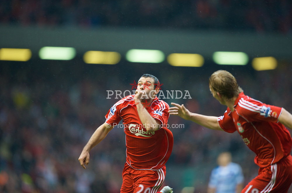 LIVERPOOL, ENGLAND - Saturday, March 15, 2008: Liverpool's Javier Mascherano celebrates scoring the equaliser against Reading during the Premiership match at Anfield. (Photo by David Rawcliffe/Propaganda)