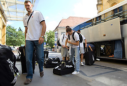 Goran Jagodnik and Jaka Lakovic at arrival of Slovenian basketball team from a friendly tournament in Spain, on August 9, 2010 at City Hotel, Ljubljana, Slovenia. (Photo by Vid Ponikvar / Sportida)