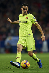 November 24, 2018 - Madrid, Madrid, Spain - Sergio Busquets of Barcelona does passed during the week 13 of La Liga match between Atletico Madrid and FC Barcelona at Wanda Metropolitano Stadium in Valencia, Spain on November 24, 2018. (Credit Image: © Jose Breton/NurPhoto via ZUMA Press)