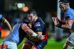 Dragons' Elliott Dee is tackled by Southern Kings' Michael Willemse - Mandatory by-line: Craig Thomas/JMP - 30/09/2017 - RUGBY - Rodney Parade - Newport, Gwent, Wales - Newport Gwent Dragons v Southern Kings - Guinness Pro 14