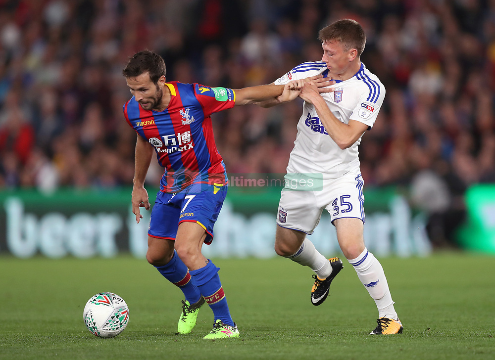 Crystal Palace's Yohan Cabaye (left) and Ipswich Town's Ben Morris battle for the ball during the Carabao Cup, Second Round match at Selhurst Park, London.
