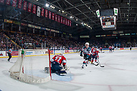 KELOWNA, CANADA - JANUARY 17: Conner Bruggen-Cate #20 of the Kelowna Rockets scores a second period short handed goal on Reece Klassen #31 of the Lethbridge Hurricanes on January 17, 2017 at Prospera Place in Kelowna, British Columbia, Canada.  (Photo by Marissa Baecker/Shoot the Breeze)  *** Local Caption ***