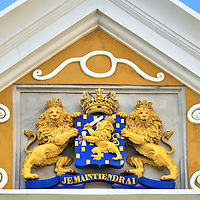 Coat of Arms in Punda, Eastside of Willemstad, Cura&ccedil;ao  <br />