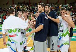 Slovenian team after the friendly match between National teams of Slovenia and Ukraine for Eurobasket 2013 on July 26, 2013 in Dvorana Komunalnega centra, Domzale, Slovenia. Slovenia defeated Ukraine 74-46. (Photo by Vid Ponikvar / Sportida.com)