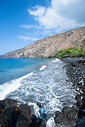 The rocky shore of Kealakekua Bay n the Big Island of Hawaii.