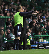 Dundee manager Paul Hartley gives instructions to Calvin Colquhoun as the youngster prepares to make his debut as a substitute -  Celtic v Dundee - SPFL Premiership at Celtic Park<br /> <br /> <br />  - &copy; David Young - www.davidyoungphoto.co.uk - email: davidyoungphoto@gmail.com