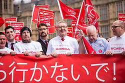© Licensed to London News Pictures. 06/03/2019. LONDON, UK.  Len McCluskey (3R), General Secretary of Unite, joins workers from Honda's Swindon plant during a demonstration outside the Houses of Parliament calling on MPs to save their factory from closing.  Honda recently announced that the plant will cease production in 2022 amidst uncertainty over the future post-Brexit.  Photo credit: Stephen Chung/LNP