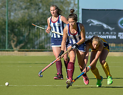 Ame Strauss of HMS Bloemhof(stripes) and Simone Gouws of Oranje MS during day two of the FNB Private Wealth Super 12 Hockey Tournament held at Oranje Meisieskool in Bloemfontein, South Africa on the 7th August 2016, <br /> <br /> Photo by:   Frikkie Kapp / Real Time Images