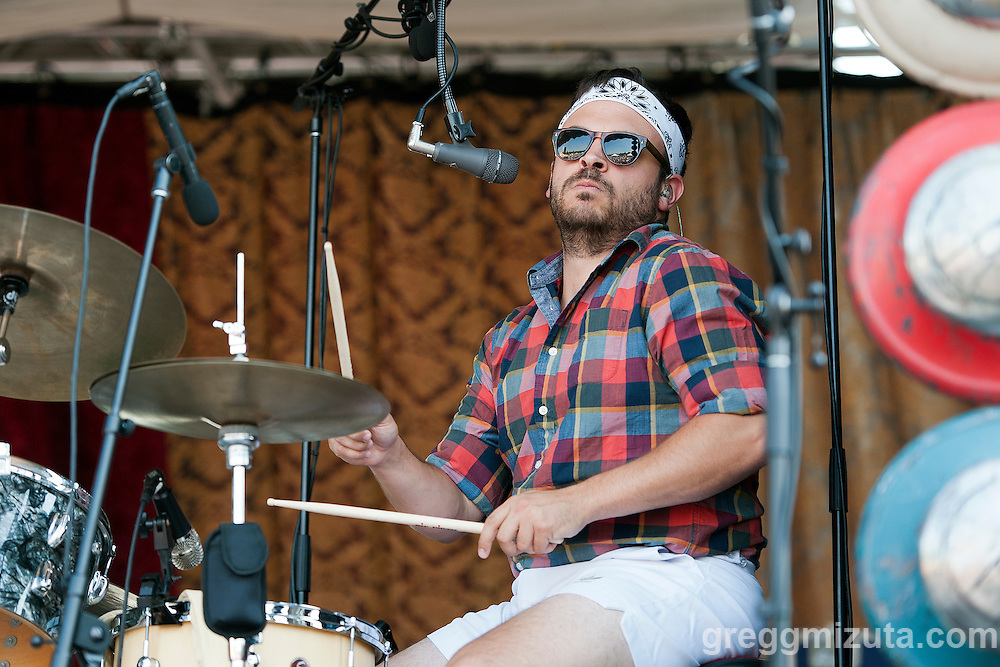 Mike Calabrese drummer with Lake Street Dive performs at Tour de Fat, Ann Morrison Park, Boise, Idaho, August 15, 2015.