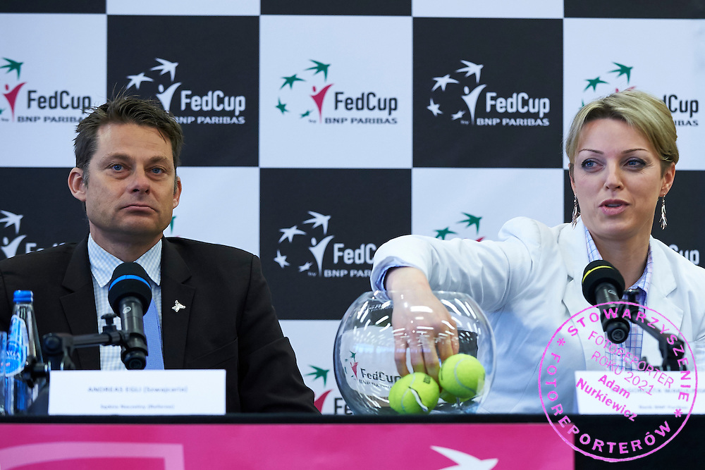 (L) Swiss ITF umpire Andreas Egli and (R) Malgorzata Wakulinska (BNP Paribas Bank) during official draw one day before the Fed Cup / World Group 1st round tennis match between Poland and Russia at Holiday Inn on February 6, 2015 in Cracow, Poland.<br /> <br /> Poland, Cracow, February 6, 2015<br /> <br /> Picture also available in RAW (NEF) or TIFF format on special request.<br /> <br /> For editorial use only. Any commercial or promotional use requires permission.<br /> <br /> Adam Nurkiewicz declares that he has no rights to the image of people at the photographs of his authorship.<br /> <br /> Mandatory credit:<br /> Photo by &copy; Adam Nurkiewicz / Mediasport