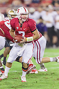 PALO ALTO, CA -  OCTOBER 22:  Brett Nottingham #7 of the Stanford Cardinal prepares to hand off during a PAC 12 football game against the University of Washington played on October 22, 2011 at Stanford Stadium in Palo Alto, California. (Photo by David Madison/Getty Images) *** Local Caption *** Brett Nottingham