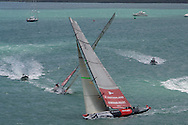 NEW ZEALAND, Auckland,13th February 2009, Louis Vuitton Pacific Series, Final, Emirates Team NZ vs Alinghi, Race 1, Alinghi leads Emitates Team NZ on leg 3