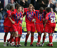 Photo: Lee Earle.<br /> Crystal Palace v Hull City. Coca Cola Championship. 06/10/2007. James Scowcroft (C) is congratulated after scoring the opening goal for Palace.