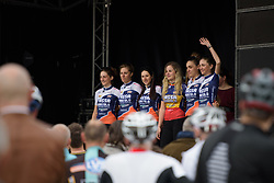 Top Girls Fassa Bortolo wave to the crowds at the Women's Ronde van Vlaanderen 2017 Team Presentation.
