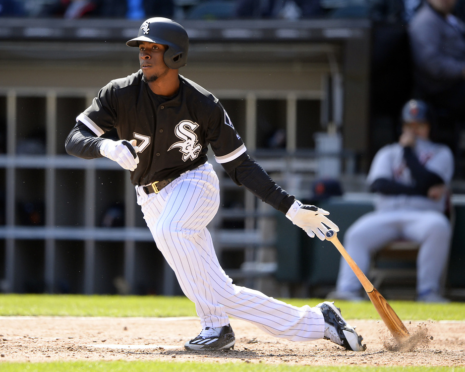 CHICAGO - APRIL 06:  Tim Anderson #7 of the Chicago White Sox bats against the Detroit Tigers on April 6, 2017 at Guaranteed Rate Field in Chicago, Illinois.  The White Sox defeated the Tigers 11-2.  (Photo by Ron Vesely)   Subject:  Tim Anderson