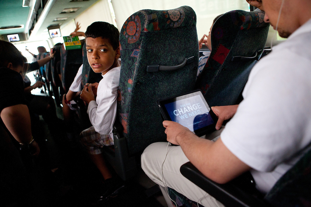 NEW YORK, NY – MAY 25, 2011: Juan Carlos Merres travels on a bus headed for New York City as part of the Donegan Elementary Leadership program.<br />