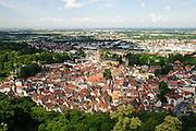 Blick auf Weinheim und Rheinebene, Baden-Württemberg, Deutschland