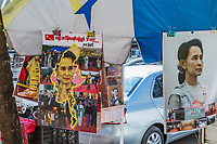 YANGON, MYANMAR -NOVEMBER 25, 2016 : Aung San Suu Kyi calendars  portrait to be sale in the streeets of Yangon (Rangoon) in Myanmar (Burma)